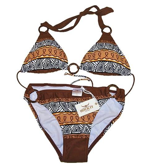 Triangel Bikini AZTEC Damen Push up Zweiteiler Bikini Set mit Bikinioberteil und Bikinihose Original von ROCK IT in den Farben Braun Ocker Rot