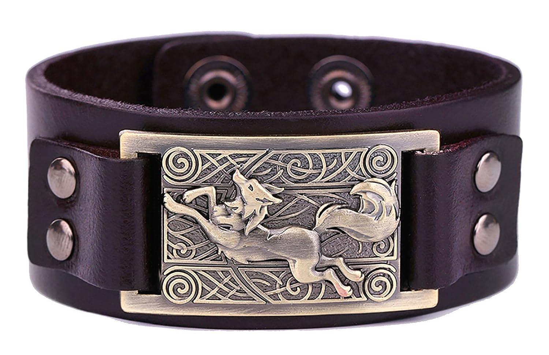 Vintage Nordic Fenrir lobo celta nudo Metal Cuff pulsera espiritual Animal joyas para hombres/mujeres regalo YiYou
