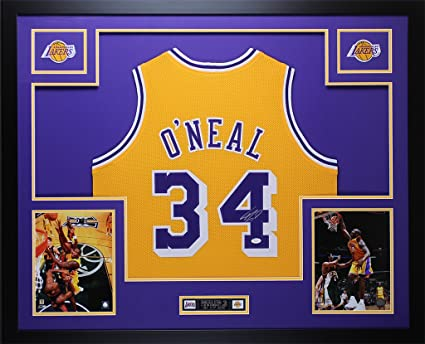 2f0b2d1901b Shaquille O Neal Autographed Gold Lakers Jersey - Beautifully Matted and  Framed - Hand Signed