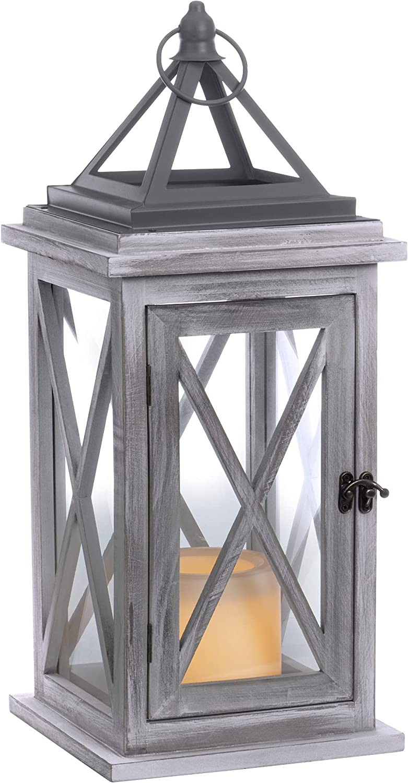 Sterno Home GL43845 Wood LED Flameless Candle, Grey Lantern