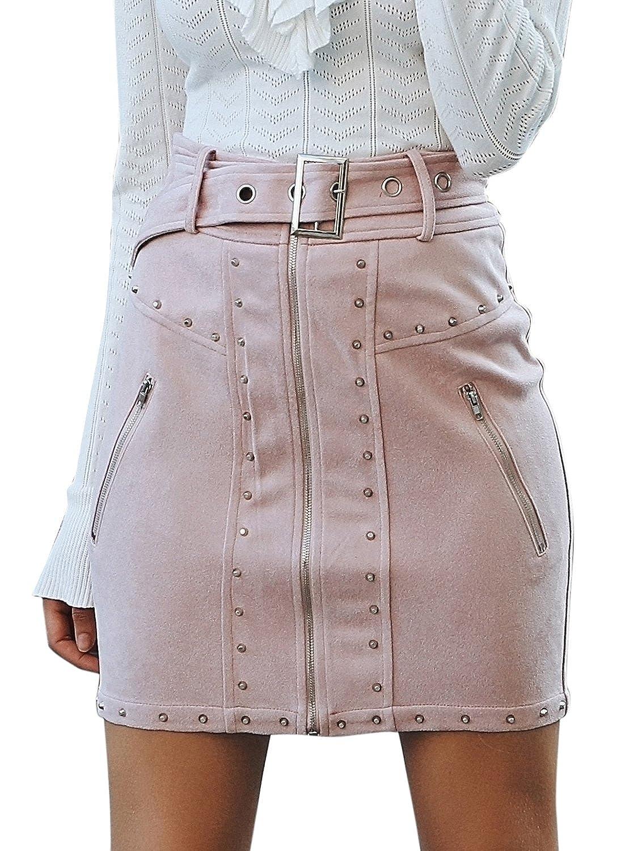Missy Chilli Women's High Waist Suede Mini Skirt Zipper Belt Bodycon Skirt MBS0104