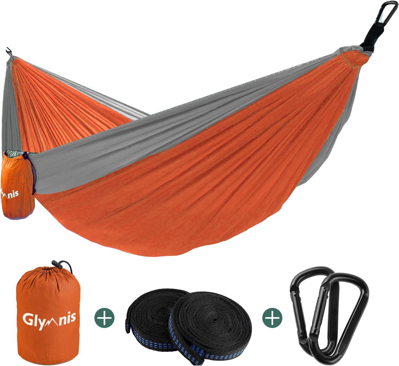 Glymnis Hamaca Ultraligera para Camping y Viaje de Nylon 300kg de Capacidad de Carga Ranspirable y Secado Rápido 275x140cm Kit de Hamaca de Tela 210T