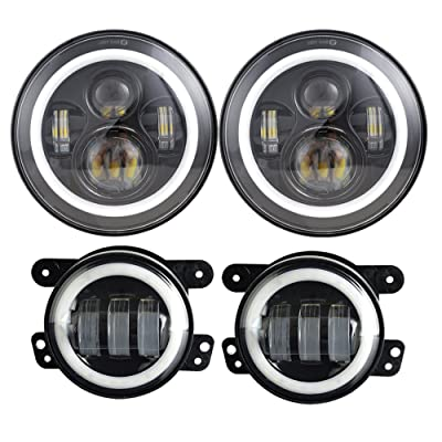 Dot Approved 7inch Jeep LED Headlights with White DRL/Amber Turn Signal + 4 inch LED Fog Lights with White DRL Halo Ring for Jeep Wrangler 97-2020 JK LJ Tj: Automotive