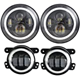 Dot Approved 7inch Jeep Daymaker LED Headlights with White DRL/Amber Turn Signal + 4 inch LED Fog Lights with White DRL Halo Ring for Jeep Wrangler 97-2017 JK LJ Tj
