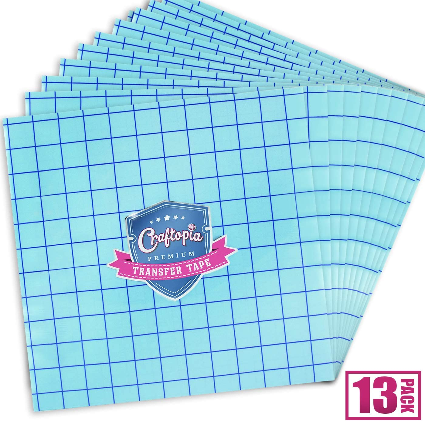 13 Sheets Transfer Tape Sheets for Vinyl 12x12 Clear with Blue Alignment Grid Compatible with Cricut Cameo Self Adhesive Vinyl for Signs Stickers Decals Walls Doors /& Windows