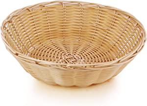 New Star Foodservice 7006940 Food Serving Baskets 9 x 2.75 inch Round, Hand Woven, Polypropylene, Set of 12, Natural