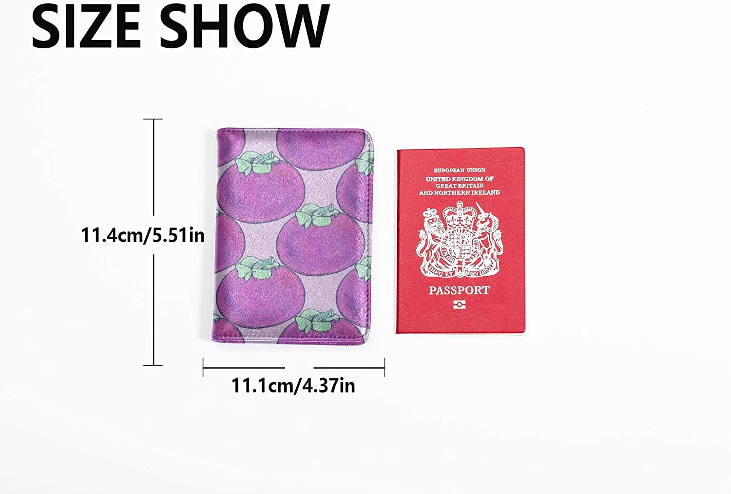 Passport Case Cover Cute Color Fashion Fruit Mangosteen Passport Case With Pen Holder Multi Purpose Print Leotruny Passport Holder Cover Travel Wallets For Unisex 5.51x4.37 Inch