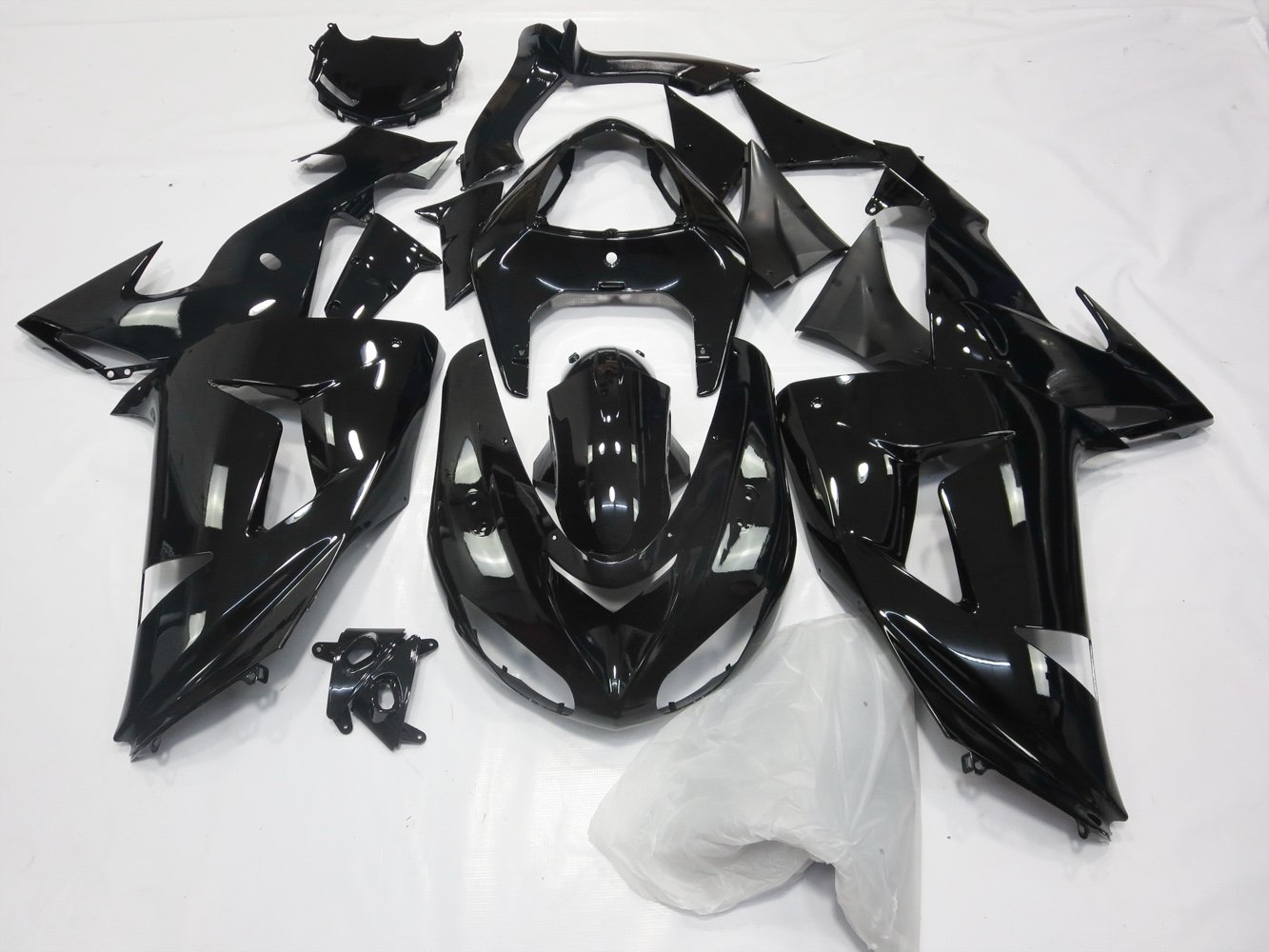 Amazon.com: ZXMOTO Glossy Black Painted Fairing Kit BodyWork ...