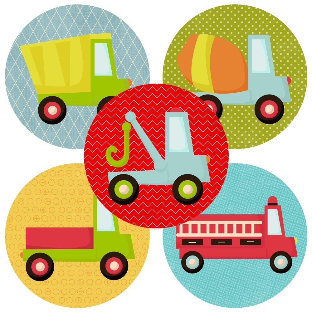 Truck Sticker Labels - Kid Children Boy Birthday Baby Shower Transportation Party Favors - Set of 50