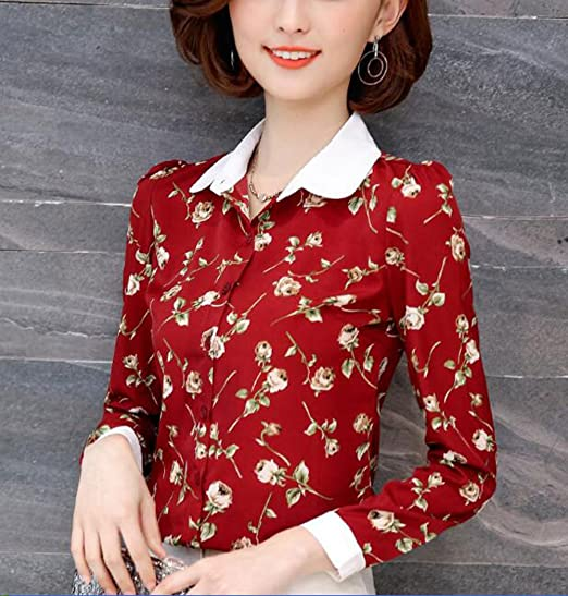 1940s Blouses and Tops Double Plus Open DPO Womens Button Down Long Sleeve Printed Shirt Tailored Blouse  AT vintagedancer.com