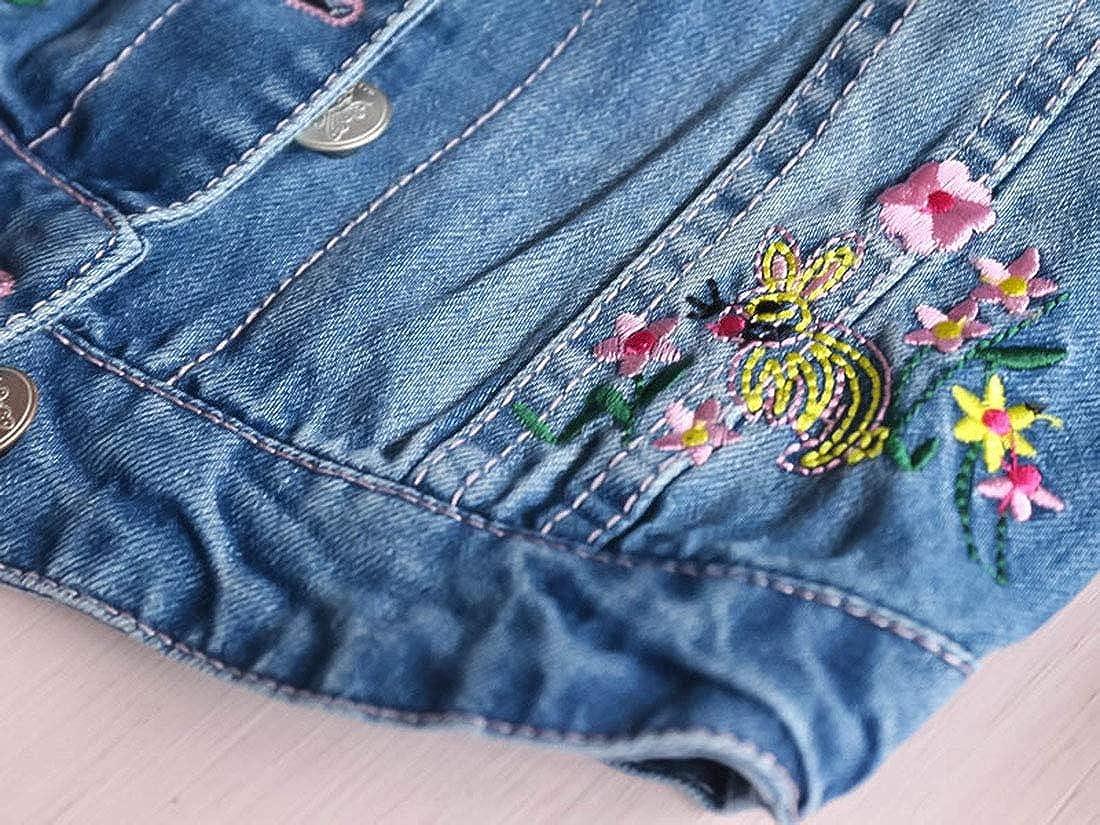 PanpanBox Jeans Veste Filles Broderie Fleuri Col Revers Denim Jacket Retro Blouson Outwear B/éb/é Courte Coat Tout-Petits Manteau 1-8 Ans