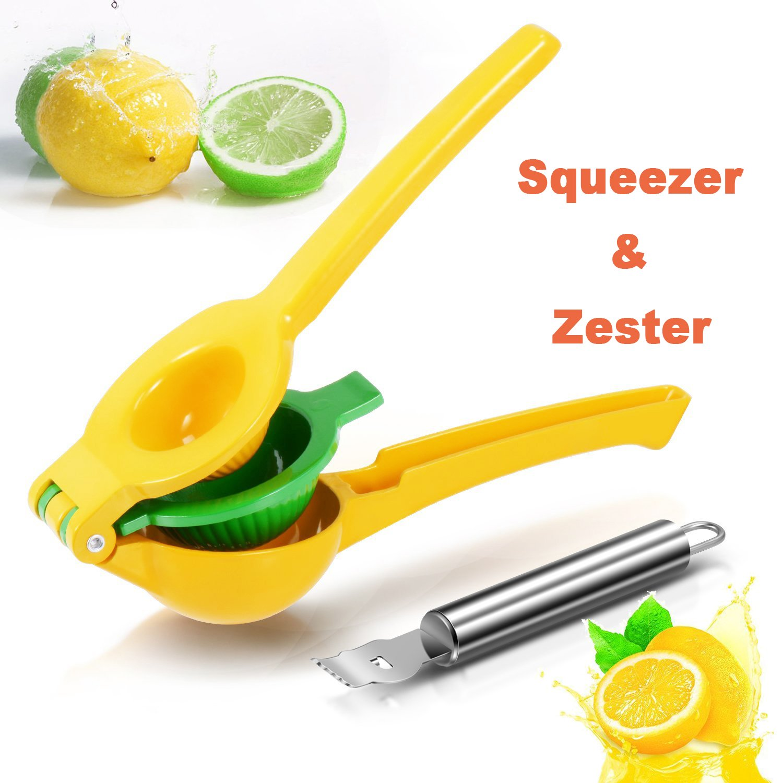 Squeezer Juicer - Rantizon Lemon Squeezer with a Lemon Zester, 2-in-1 Manual Citrus Press, Lime Juicer, Citrus Press, Orange Squeezer, Handheld Juicer, High-quality Sturdy Aluminum, Dishwasher Safe