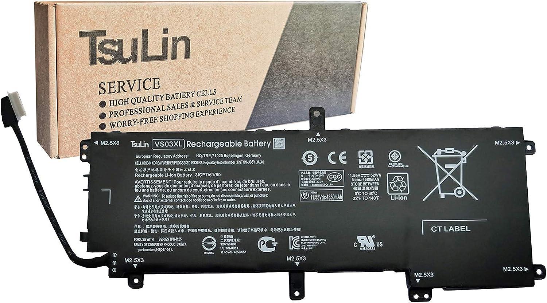 TsuLin HSTNN-UB6Y VS03XL Laptop Battery Compatible with HP Envy 15-AS001NG 15-AS014WM 15-AS025TU 15-AS027TU 15-AS032TU 15-AS101NG Series Notebook 849047-541 849313-850 11.55V 52Wh 4560mAh