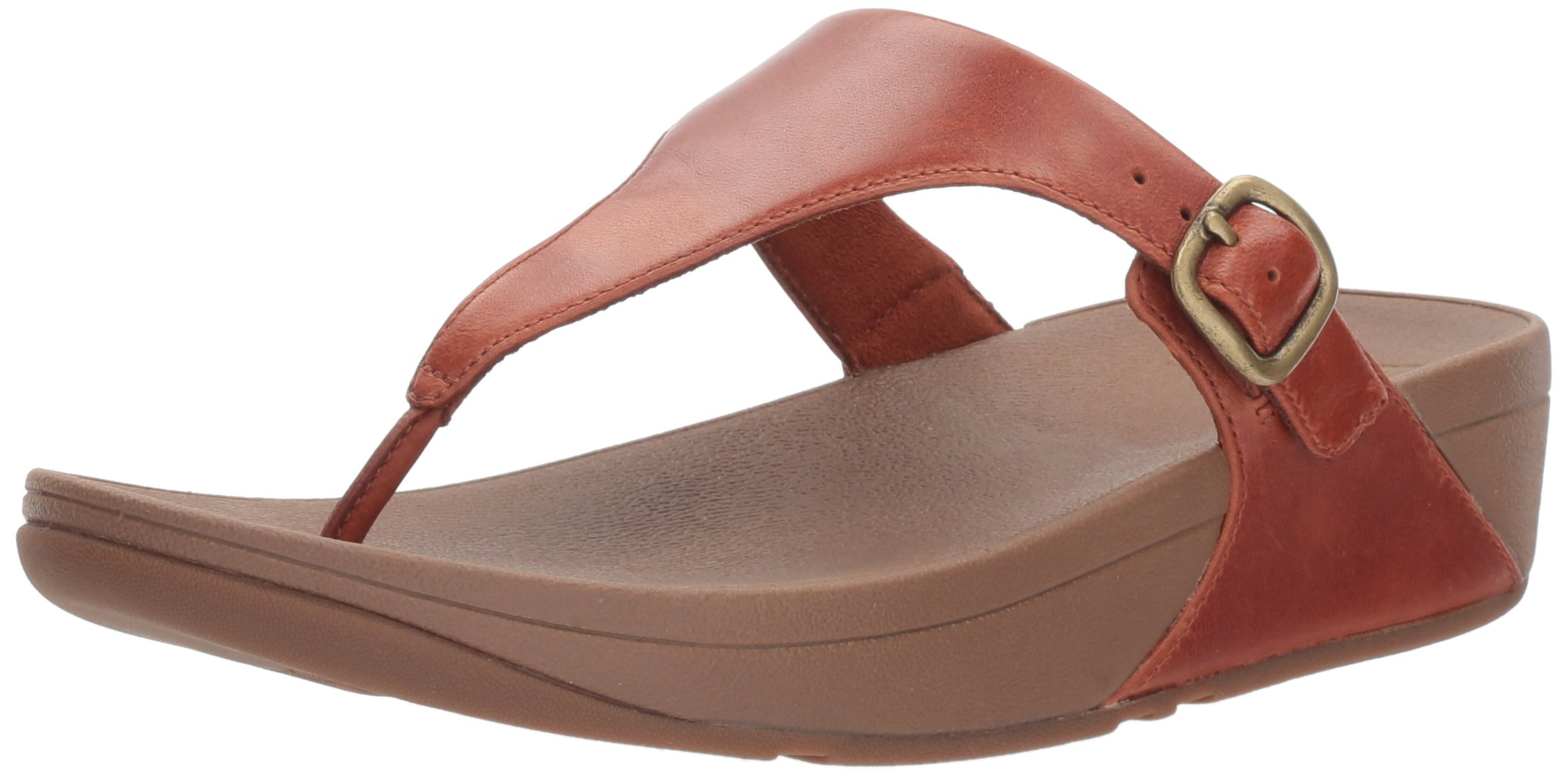 FitFlop Women's The Skinny Leather Toe-Thong Sandal, Dark Tan, 10 M US