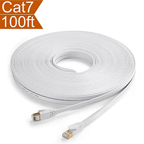 CelerCable Network Cable shielded(STP) CAT7 100 Feet with Snagless RJ45 Connectors - Flat