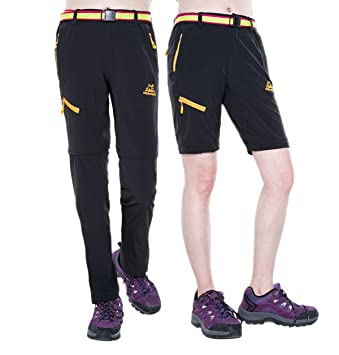 1ae4b65f54f CLOUSPO Hiking Trousers Womens Zip Off Quick Dry Breathable Lightweight  with Belt Walking Trousers Multipockets Trousers