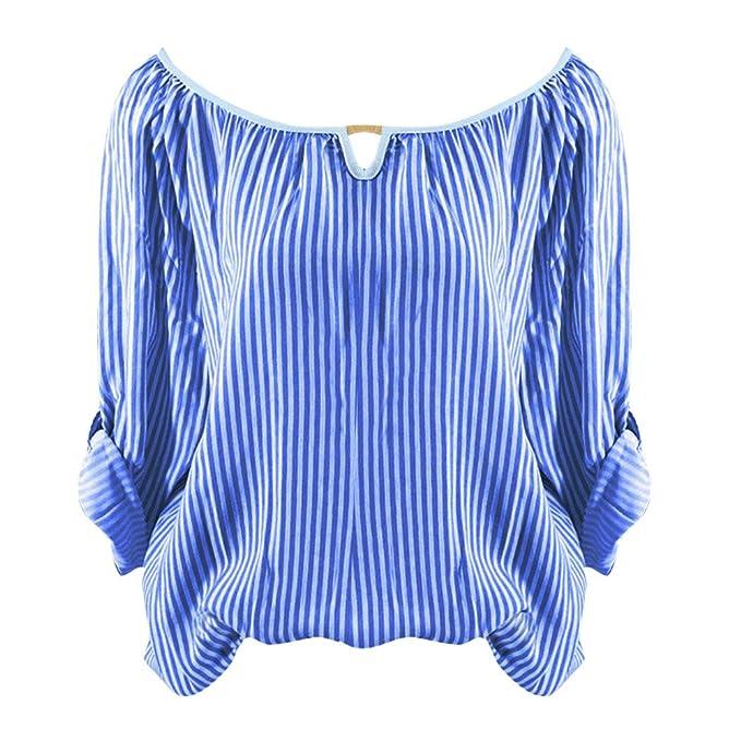 FAMILIZO_Camisetas Mujer Verano Blusa Mujer Elegante Camisetas Mujer Manga Corta Algodón Camiseta Mujer Camisetas Mujer Fiesta Camisetas Rayas Mujer Manga ...