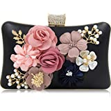 Tooba Handicraft Party Wear Beautiful Flower Box Clutch Bag Purse, Size 8x5 inches For Bridal, Casual, Party, Wedding