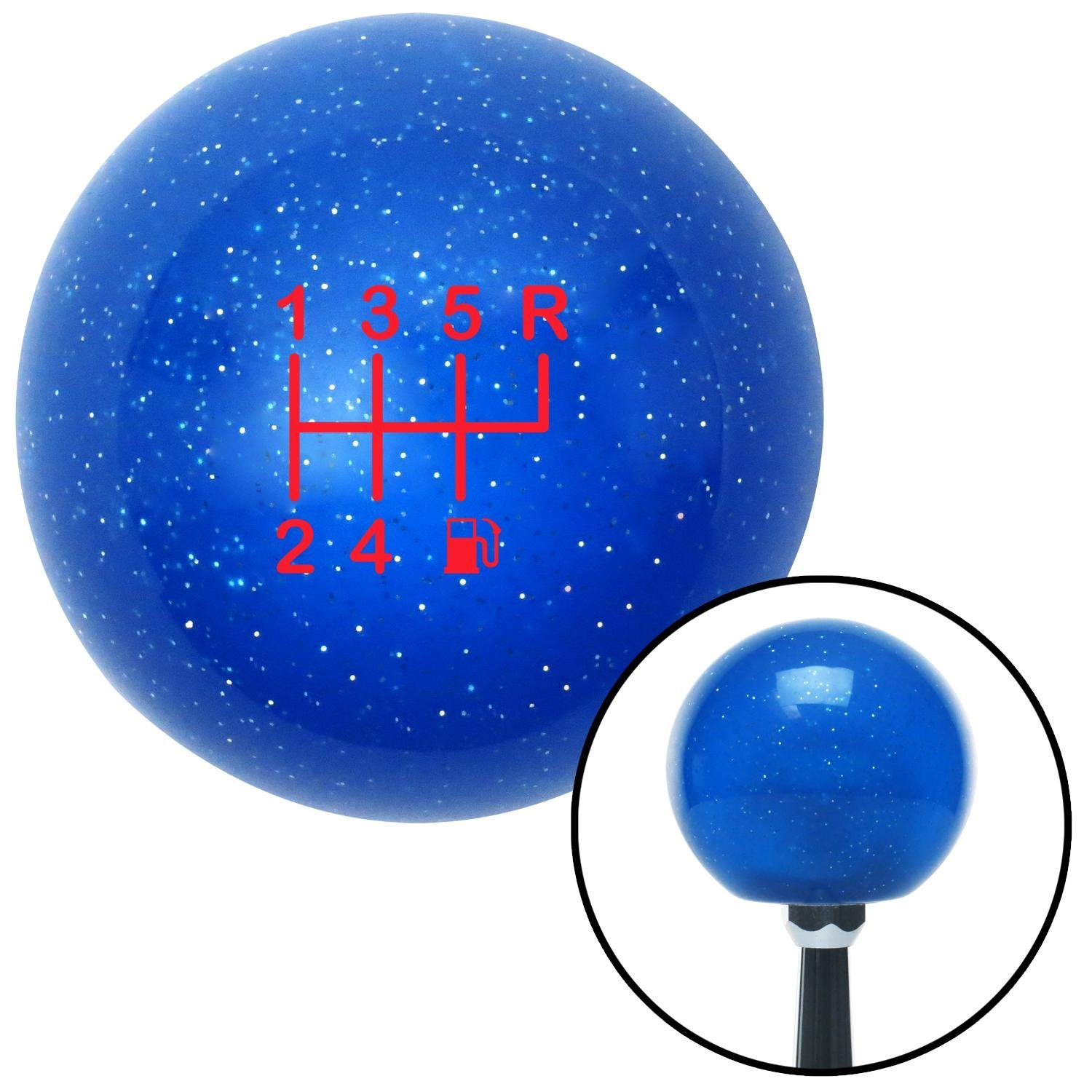 Red 6 Speed Shift Pattern - Gas 26 Blue Metal Flake with M16 x 1.5 Insert American Shifter 276819 Shift Knob
