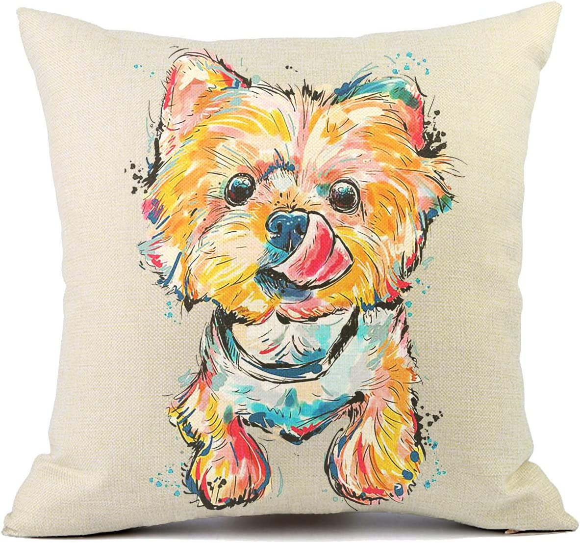 VIOAPLEM Cute Pet Yorkshire Dog Cushion Covers Cotton Linen Sofa Decorative Throw Pillow Cases for Home Decor 18×18 Inch
