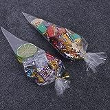 Sacchetti in cellofan trasparente a triangolo, con lacetti, per caramelle, dolci e biscotti, confezione da 100 pezzi