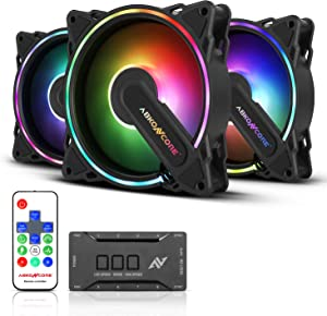 ABKONCORE HR120 PC Fan, SYNC PWM RGB 120mm Computer Fans, Hurricane RGB Frame PC Case Fans with Hydro Bearing and Anti Vibration Pads, Silent Dual Fans with 61 LED Modes, Fan Control Hub (3in1 Kit)