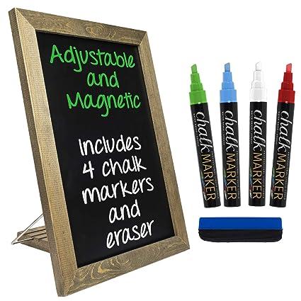 Pizarra rústica para mesa: incluye 4 marcadores de tiza ...