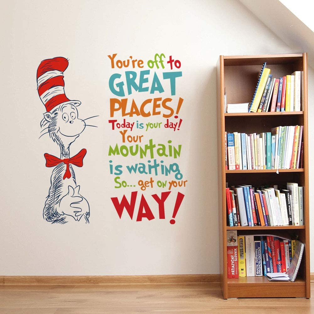 Decalplanet Dr Seuss Inspirational Wall Decal Quotes Kids Wall Stickers Saying Classroom Reading Room Baby Nursery Wall Decor