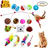 Ridsmc Cat Toys Interactive Feather Cat Wand Teaser and Exerciser for Cat and Kitten 16PCS Cat Toy Set with Multi Fluffy Mouse, Crinkle Balls and Bell Balls (Multi)