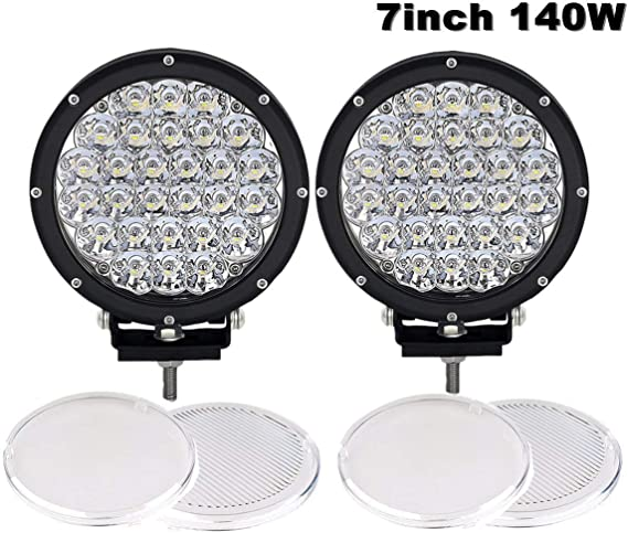 1Pair 7 Inch Round Led Driving Light 140W 14000LM Front Bumper Grille Guards Spotlights for Offroad Jeep Wrangler JK TJ YJ Ford Toyota Pickup 4WD 4X4 ATV SUV Boat Truck Bulldozer Excavator Forklift