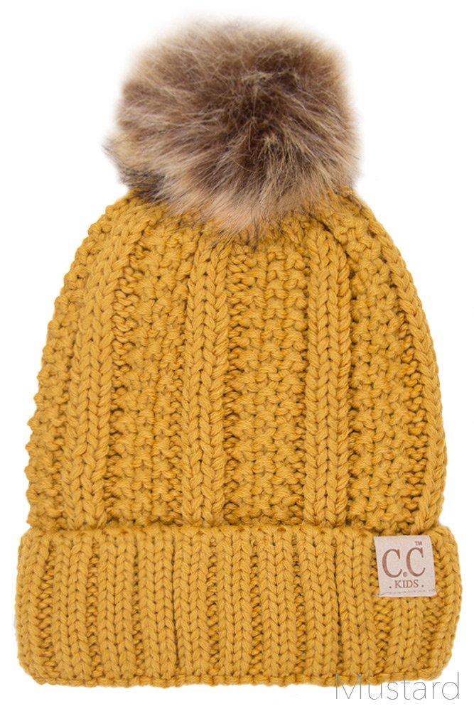 ScarvesMe CC Exclusive 2-7yrs Fuzzy Fleece Lined Baby Kids Toddler Children Winter Beanie with Pom Pom (Mustard)