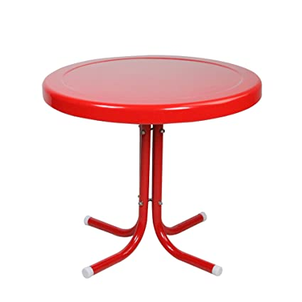 Fine Lb International 21 75 Red Outdoor Retro Metal Tulip Side Table Download Free Architecture Designs Viewormadebymaigaardcom