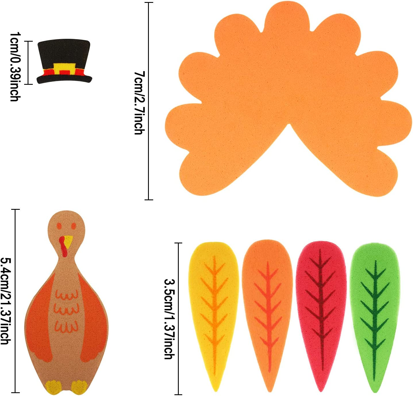 Make Up To 24 Turkeys 264 Pieces Thanksgiving Turkey Craft Kit DIY Foam Turkey Thanksgiving Party Game School Activities for Kids and Adults
