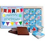 Happy Birthday Milk Chocolate gift set ♛ DA CHOCOLATE 5x5 box 9 pieces of chocolate 2 ounce (Blue Prime)