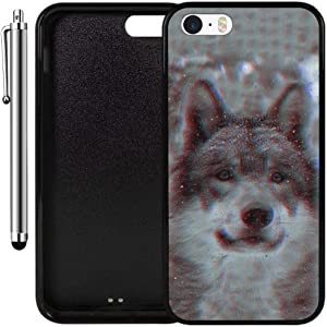 Custom Case Compatible with iPhone SE, iPhone 5S (Wolf Trip Vintage) Edge-to-Edge Rubber Black Cover Ultra Slim | Lightweight | Includes Stylus Pen by Innosub