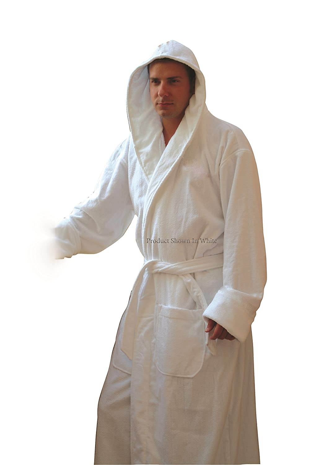 Hooded Terry Bathrobe. 9 Colors Available. Robe Weight 3lb (Black ...
