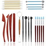 Polymer Clay Tools,23 pcs Modeling Clay Sculpting Tools Kits for Pottery Sculpture, Include Wooden Dotting Tools,Rubber…