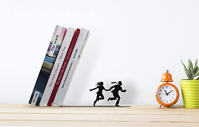 Falling Books on a Running Couple Bookend