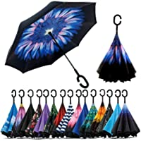 ADTALA 210PG with Teflon Coating Double Layer Inverted Reverse Windproof Folding Windproof UV Protection Big Straight Multicolour Umbrella with C-Shaped Handle