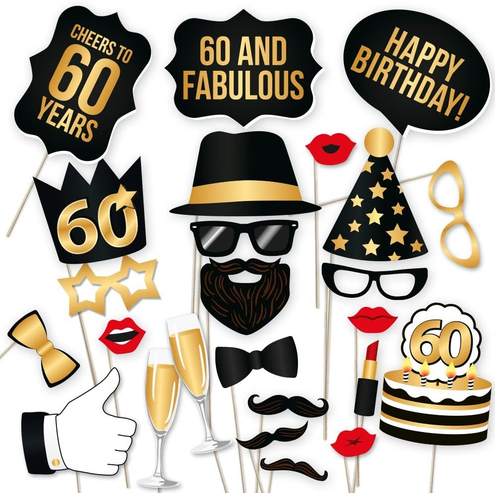 Lulufun Birthday Photo Booth Props Kit Funny Party Photo Props with Wooden Sticks and Strike a Pose Sign for Party Supplies Decoration 50th Birthday