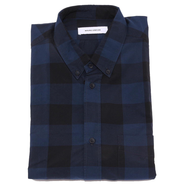bleu noir 41 (16) MAURO GRIFONI 5461U Camicia hommes bleu noir Shirt manche longue Hommes