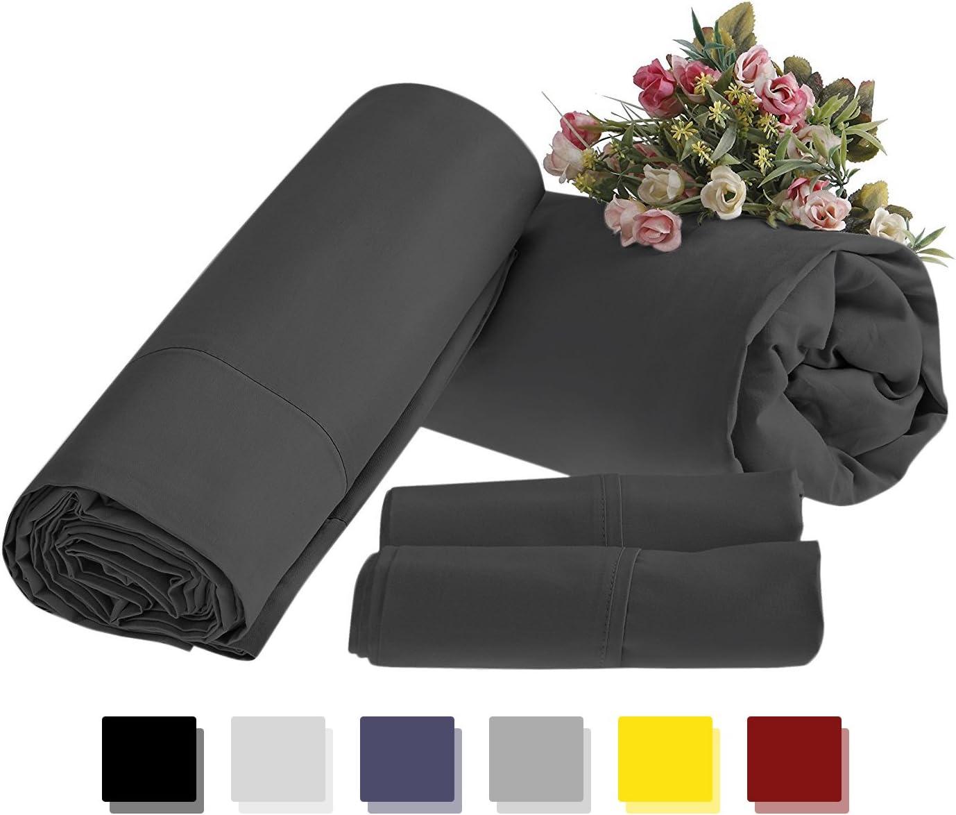 Mayfair Linen Bed Sheet Set 1800 Supreme Collection Bedspread 100% Brushed Micro Fiber Deep Pocket Premium Quality Bedding Set Dark Grey Twin XL