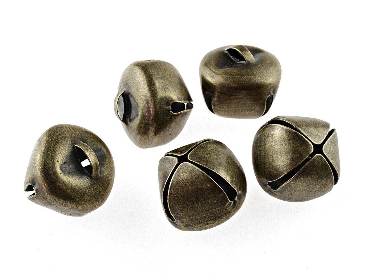 50 kleine Glöckchen in antik bronzefarben 6 mm von Vintageparts
