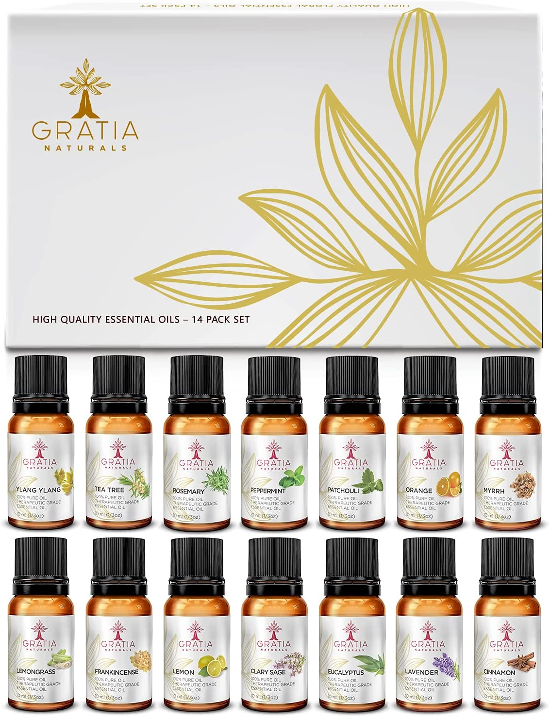 Gratia naturals Top 14 Pure Essential Oils Set – Therapeutic Grade Aromatherapy Essential Oils, 100% Natural Essential Oils for diffusers, humidifiers, Personal Care, soap and Candle DIY - Gift Set