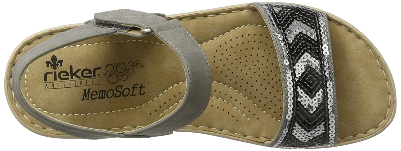Rieker Damen V5778 Offene Sandalen mit Keilabsatz