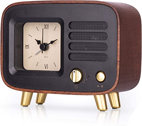 Retro Wooden Alarm Clock with Bluetooth Speaker, Rechargeable Portable Wireless HQ MP3 Music Player for Smart Phone, Vintage Old Decorative Table Clocks Silent for Home, Bedroom, Nightstand, Office