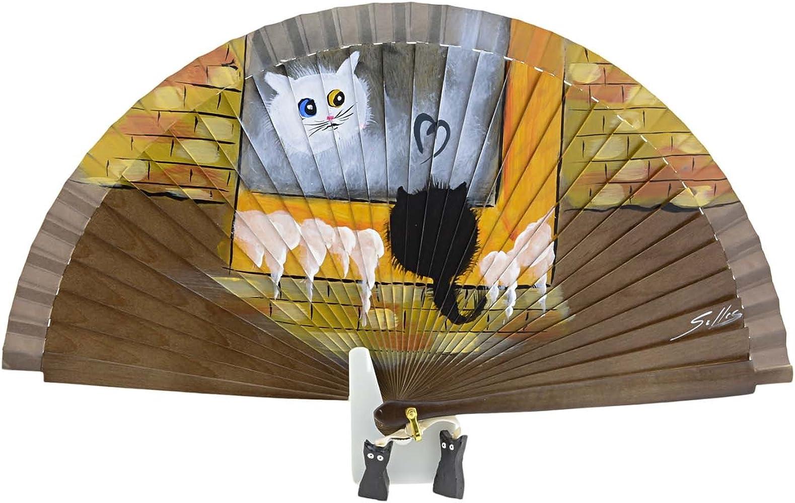 Abanico diseño de gatos Talla: U Color: MARRON: Amazon.es: Ropa y accesorios