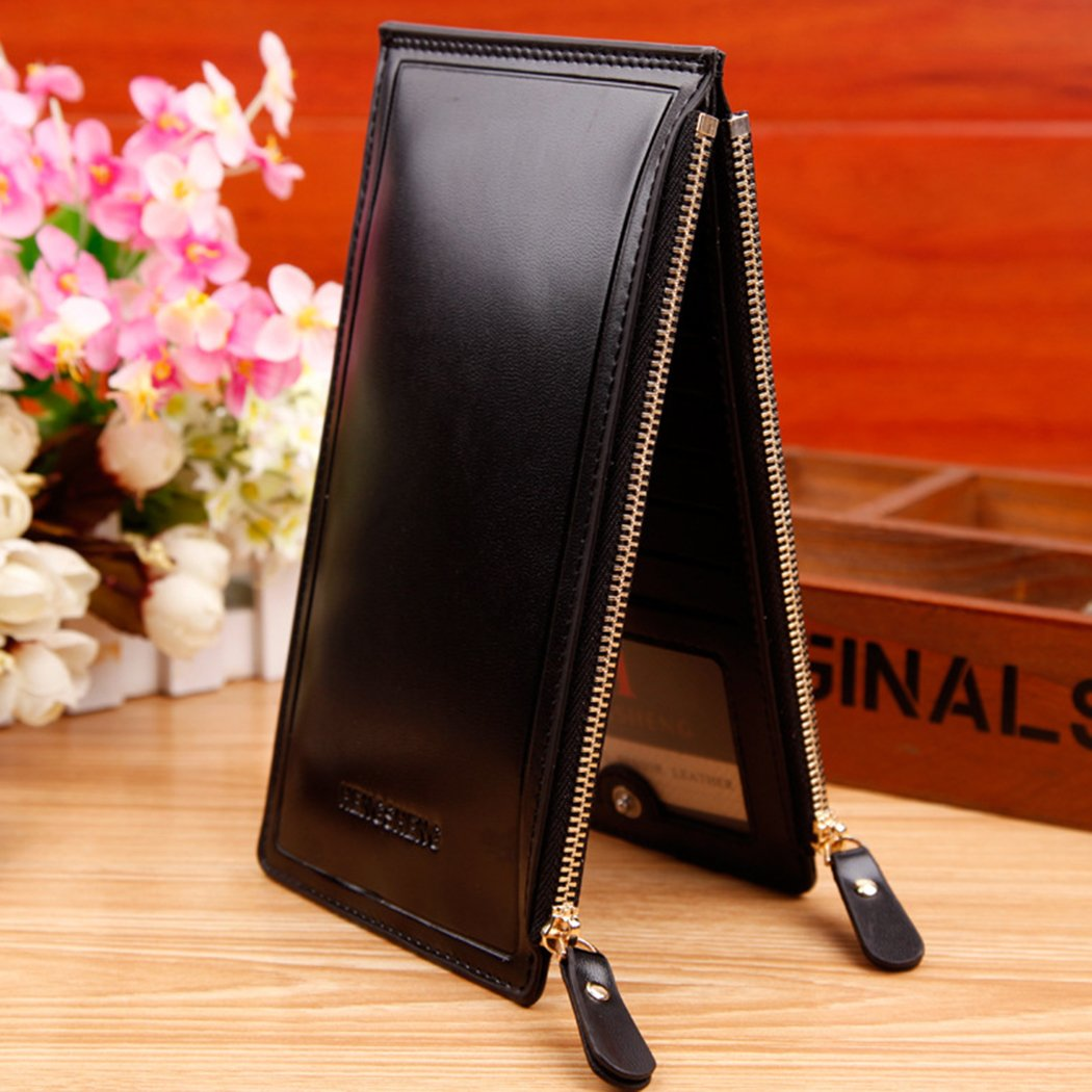 Coafit Money Clips Business Zipper Long Wallet for Men