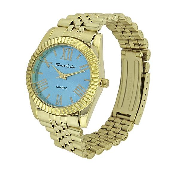 Thomas Calvi para Mujer Reloj Infantil de Cuarzo con Esfera Azul y Correa Color Dorado tcw137/A: Amazon.es: Relojes
