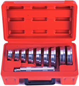 OrionMotorTech 10pcs Bearing Race and Seal Bushing Driver Install Set 9 Discs Collar Axle Housing with Carrying Case Master/Universal Aluminum Kit for Automotive Wheel Bearings